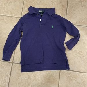 Boys toddler long sleeve purple Polo shirt w/green